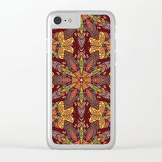 Colorful abstract ethnic floral mandala pattern design Clear iPhone Case