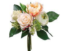 This faux wedding bouquet has a beautiful mix of pink peonies, cream green ranunculus, pink and peach roses, and white lilacs. Great wedding bouquet for bridesm
