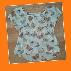 Sheer butterfly top Mudd top, sheer cream color with butterflies, 100%polyester, like new condition,   small Mudd Tops