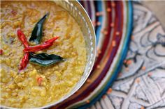 Sri Lankan Masur Dal with Tamarind, Curry Leaves & Coconut Milk Recipe on a recipe on Coconut Milk Recipes, Raw Food Recipes, Vegetable Recipes, Indian Food Recipes, Vegan Food, Vegan Soups, Yummy Recipes, Free Recipes, Healthy Food