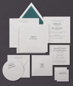 Our Radiant Circle invitation suite is shown here thermography printed in teal ink.