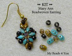 PDF Tutorial Beadwoven Earrings, SuperDuo Earring Kit, Seed Bead Earrings Kit, Earring Tutorial, Beadwork Tutorial, Beadwoven Earrings,Kit by mybeads4you on Etsy https://www.etsy.com/listing/159390785/pdf-tutorial-beadwoven-earrings-superduo