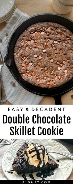 40 Skillet Desserts You'll Fall In Love With - Captain Decor Double Chocolate Brownies, Skillet Chocolate Chip Cookie, Skillet Cookie, Chocolate Chip Oatmeal, Chocolate Chip Cookies, Pizookie Recipe, Best Dessert Recipes, Yummy Recipes, Vegan Recipes