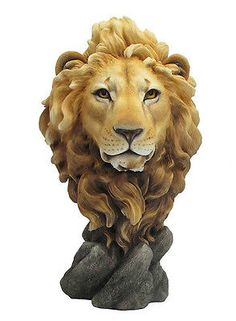 """#15.5"""" lion head bust #statue #figurine wild animal safari sculpture jungle decor,  View more on the LINK: http://www.zeppy.io/product/gb/2/192041284920/"""
