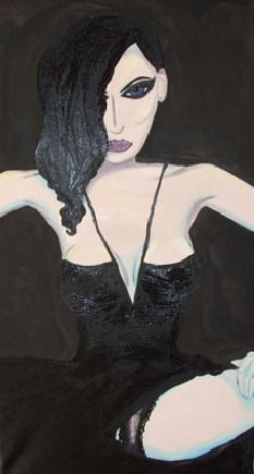 Dita in Black Lace, Oils & background ink. by emma jane murphy