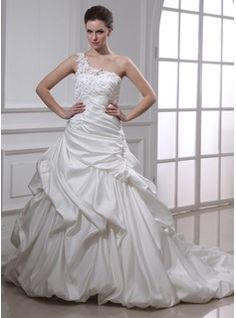 Ball-Gown One-Shoulder Chapel Train Satin Wedding Dress With Ruffle Lace Beadwork Flower(s) (002012104)