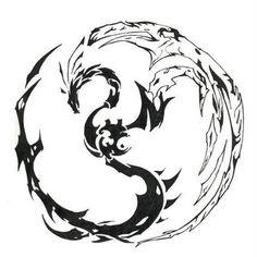 tribal dragon yin/yang