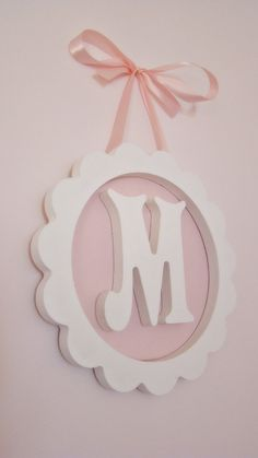 scalloped letter wood monogram