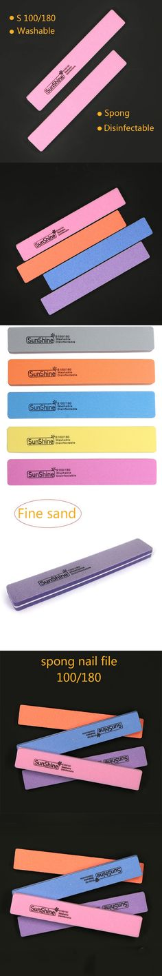 5pcs Rectangle 100/180 Grit Salon Nail Tool Nail File Buffer For Acrylic & UV Nail Tips Pedicure Manicure Beauty Care NC128