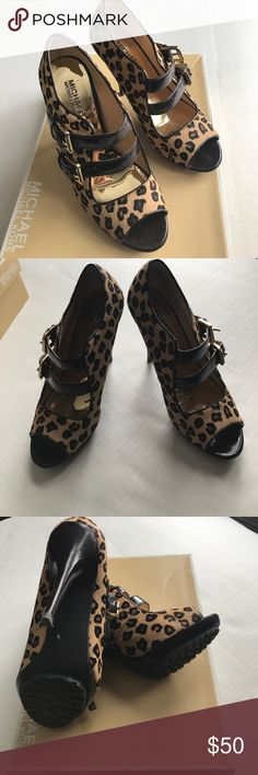 Cheetah Heels Open toe shoes with three buckles. Love these but are too small. Worn about three times. They are practically new. Comes with original box. Bundle and save KORS Michael Kors Shoes Heels