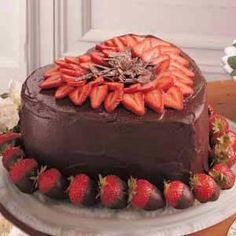 Chocolate:  Victorian Strawberry #Chocolate Heart Cake.