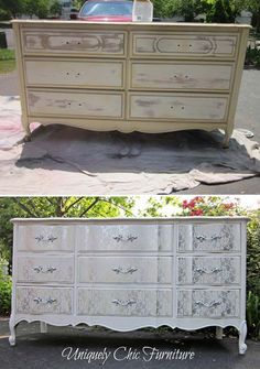 How to Make Shabby Chic Furniture | Lacey Makeover by DIY Ready at http://diyready.com/12-diy-shabby-chic-furniture-ideas/