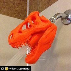 #Repost @wilson3dprinting with @repostapp  3D printed T-Rex shower head #3d #model #print #dinosaur #art #3dprinting #3dscanning #3dp #design #trex #shower by imanuel_rony