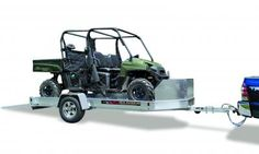 ALUMA UT10-UT12 UTV TRAILERS- BANCROFT, Iowa—Aluma UTV trailers are ideal for UTV hauling, as well as additional hauling applications.  The UT10 -UT12 models feature a 63- by 57-inch ramp, 14-inch aluminum wheels, a 24-inch tall aluminum shield with storage box, and a swivel tongue jack with an 800-lb. capacity. UTV trailers also include an LED lighting package.