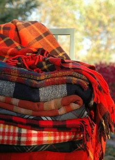 Cozy plaid blankets- for the tree house