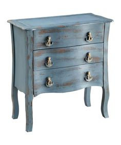Look at this #zulilyfind! Blue Nautical Accent Chest. This is a great idea, and I think you could DIY this finnish on almost any goodwill chest.