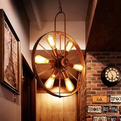 Antique Wooden Wheel Chandelier In 2019 Wagon Wheel