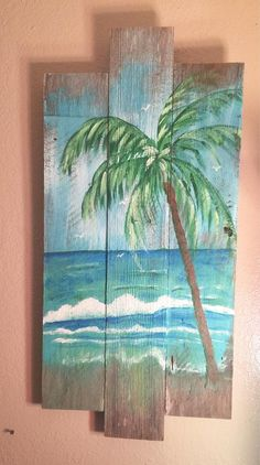 Beach Wall Murals, Beach Wall Art, Seashell Painting, Painting On Wood, Palm Frond Art, Painted Driftwood, Ocean Sunset, Ocean Beach, Stock Image