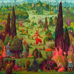 Dark art for sale direct from the artist. Hide and Seek in the Devils Garden is an original Paintings by Michael Hutter. Discover and buy thousands of Paintings dark surreal macabre gothic artwork for sale Magritte, Illustrator, Visionary Art, Stop Motion, Surreal Art, Dark Art, Garden Art, Garden Painting, Devil