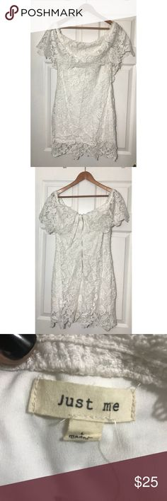 Just Me off the shoulder white lace dress - NWT NWT - OTS- lined - lace - rear zip mini dress just me Dresses Strapless