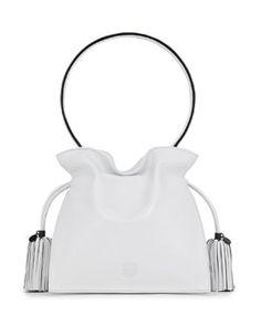 Loewe Flamenco 22 Calfskin Drawstring Bag, White