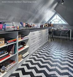 These Modern Wall Stencils make it easy to stencil a Chevron stripes pattern to jazz up your walls. SO much easier than measuring and taping! Our Chevron Wall Stencils include a free ceiling filler st