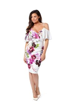 b306b2efaf880 Jessica Wright for Sistaglam Multicolour  Avril  floral cold shoulder  bodycon dress