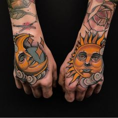 Matching Pair of Colorful Sun and Moon Tattoo Design on the Back of the Hand Knuckle Tattoos, Sun Tattoos, Music Tattoos, Tattos, Simple Sun Tattoo, Sun Tattoo Designs, Hand Tattoos For Women, Tattoo Script, Feminine Tattoos