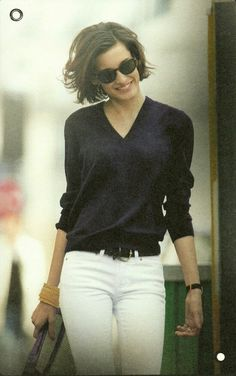 white pants. Black top