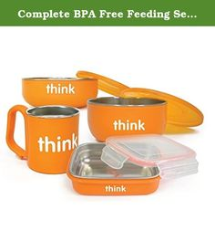Complete BPA Free Feeding Set in Orange. THO-295 Features: -Set includes baby bowl with lid, soup bowl with lid, Bento Box with air tight lid and kids cup. -Color: Orange. -Material: Stainless steel and polypropylene. -Low profile of this bowl makes it easy for little ones to use, the orange colored lid will be easy to locate among other lids. -Bowl is deeper and also comes with an orange lid. -Great for soup. -Perfect for on-the-go kids. -This shallow, rectangular container fits easily…