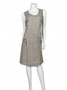 Damen Kleid aus Leinen, schlamm