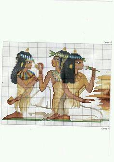 Quadro Pirâmides de Gizé e Toalha de Mesa Egípcia em Ponto Cruz