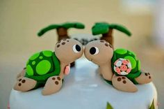Sea Turtle Wedding Cake Topper With Palm Trees - Choose Your Colors on Etsy, $89.20 CAD