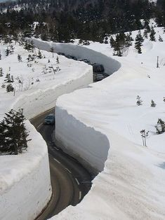Japanese Alps in Honshu, Japan's largest island, where plows open winter roads by digging through 56 feet of snow