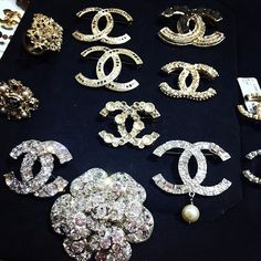 chanel broches and earrings