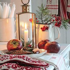 Vibeke Design If you should be going to - NORWAY - could you please get me a pair of these - RED & W Norwegian Christmas, Swedish Christmas, Christmas Kitchen, Noel Christmas, Scandinavian Christmas, Country Christmas, Winter Christmas, Christmas Vignette, Natural Christmas