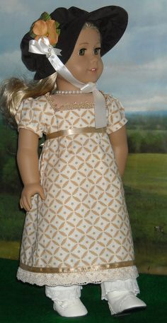 1812 Gold Print Regency Day Dress with Hat  for 18 inch Dolls. $80.00, via Etsy.