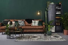 New Living Room Brown Leather Couch Ideas Ideas Living Room Green, Living Room Colors, New Living Room, Living Room Sofa, Rugs In Living Room, Living Room Designs, Brown Leather Sofa Living Room Decor, Living Room Ideas With Brown Sofa, Brown Living Rooms