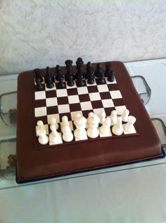 Chocolate Chess Board Cake  Everything is chocolate! The pieces took 2 days to make. It was all worth it :)