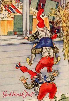 """Under krigen tegnet Frank Ingvald Wathne (9/7-1902 - 1991) en serie på 10 julekort med teksten """"God Norsk Jul"""" og motiver av nisser med lan..."""