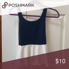 Blue and white peplum top Express blue and white xs small top with zipper in the back. Gently worn Express Tops Tank Tops