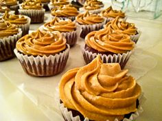 Reese's pieces cupcakes with peanut butter cool whip icing