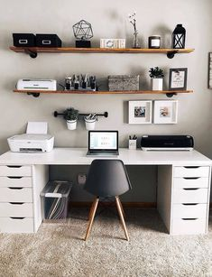 Study Room Design, Study Room Decor, Room Ideas Bedroom, Home Room Design, Home Office Design, Home Office Decor, Home Decor Bedroom, Office Desk, Dream Rooms