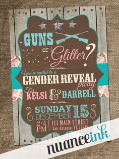 15 Custom Guns or Glitter Gender Reveal Party Western by NuanceInk, SO cute! Using these.