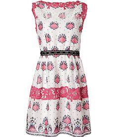 PHILOSOPHY DI ALBERTA FERRETTI  White/Rose-Multi Lace Detailed Cotton Dress