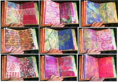 "Original pinner sez: ""Paper Ocotillo Studio: Gelli Jump-Start Journal - To help myself out with some art things to do everyday...I made myself a Gelli Jumpstart Journal. I was inspired by Kathy Parrish and her video she did for Cloth, Paper, Scissors. I often suffer from what she calls 'white paper syndrome'. Symptoms being staring blankly at a white page and drooling for hours."" Loved what the last pinner type!"
