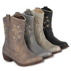 Damen Cowboy Stiefeletten Western Stiefel Nieten Schuhe 98885 Gr. 36-41 Stylisch