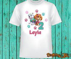 Paw patrol birthday shirt, Skye and Everest birthday shirt, girl paw patrol shirt by BirthdayInk on Etsy https://www.etsy.com/listing/245271691/paw-patrol-birthday-shirt-skye-and