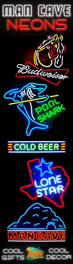 We offer a huge selection of neon signs, made with hand bent neon tubes and industrial quality materials. These works of retro art come in a variety of themes and styles, including hot rods and classic cars, diner food, beer, poker, billiards and tons more; and you'll find popular retro brands like Ford, Chevrolet, Harley-Davidson, and Budweiser.