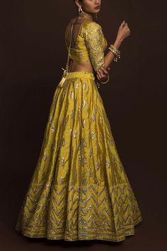 Golden Olive gotawork lehenga paired with gota work blouse (unstitched) and sheer, net dupatta. Indian Bridal Outfits, Indian Bridal Wear, Indian Designer Outfits, Indian Dresses, Designer Dresses, Indian Wear, Indian Skirt, Indian Clothes, Pakistani Fashion Party Wear